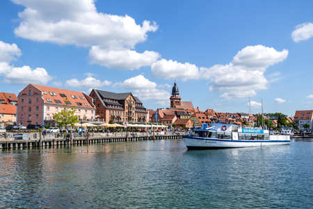 lakeside view of Waren (Müritz), a town and climatic spa in the state of Mecklenburg-Vorpommern, Germany