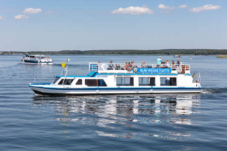 "excursion boat UNKEL BRÃ""SIG of Blau Weisse Flotte on the Lake Plau, Germany"