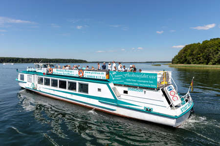 excursion boat STADT MALCHOW of Reederei Pickran on the Lake Plau, Germany