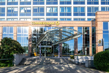 Commerzbank branch in Rostock, Germany. Commerzbank is a global banking and financial services company founded in 1870 with its headquarters in Frankfurt, Germany.