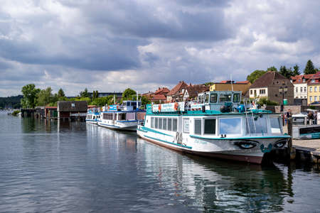 excursion boats on the Malchow Lake in Malchow, Germany Éditoriale