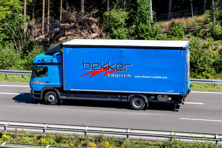 Bekker Mercedes-Benz Atego truck on motorway. Editoriali