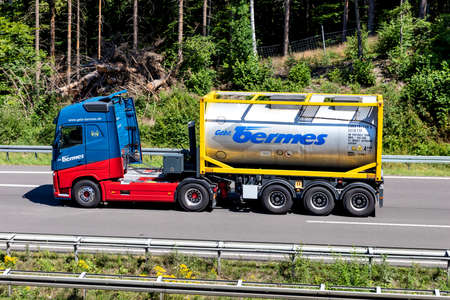 bermes Volvo FH truck with tank container on motorway. Editoriali