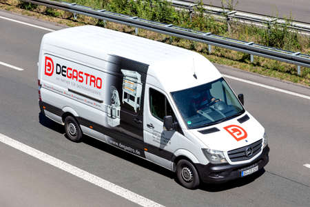 Degastro Mercedes-Benz Sprinter van on motorway. Editoriali
