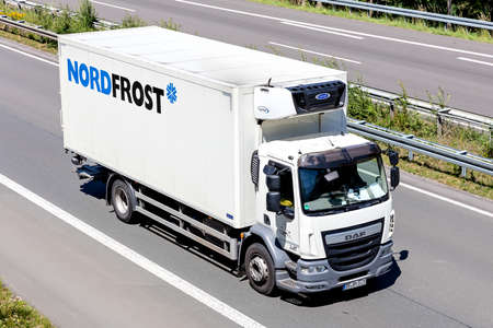 Nordfrost temperature controlled DAF LF truck on motorway.