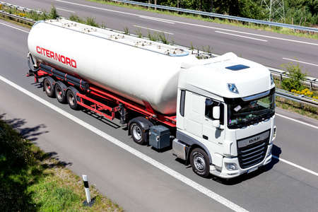 Citernord DAF XF truck with silo trailer on motorway.