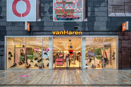 Van Haren branch in Almere, The Netherlands. Van Haren is a Dutch shoe retailer and part of Deichmann Group, Europe's largest shoe retailer.