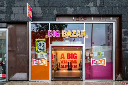Big Bazar branch in Almere, The Netherlands. Big Bazar is a Dutch discount store-chain with over 100 outlets in the Netherlands and Belgium.