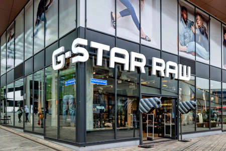 G-Star RAW store in Almere, The Netherlands. G-Star RAW is a Dutch designer clothing company, founded in Amsterdam in 1989, which produces urban clothing.
