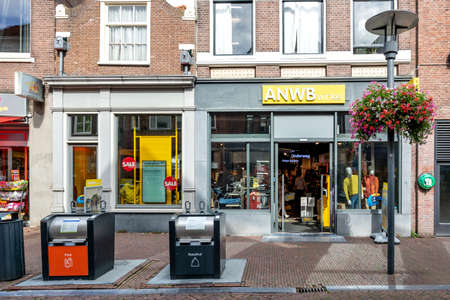 ANWB winkel in Amersfoort, The Netherlands. The Royal Dutch Touring Club (ANWB) operates about 80 shops selling documents, leisure clothing and travel products.