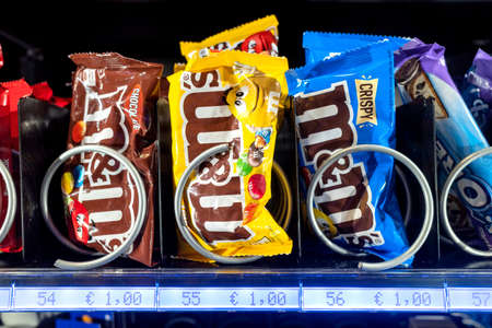 M&M's bags in vending machine