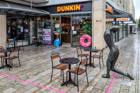 Dunkin' Donuts branch in Almere, The Netherlands. Dunkin' is an American multinational coffee and doughnut company.