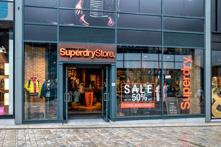 Superdry store in Almere, The Netherlands. Superdry plc is a UK branded clothing company. It is listed on the London Stock Exchange.