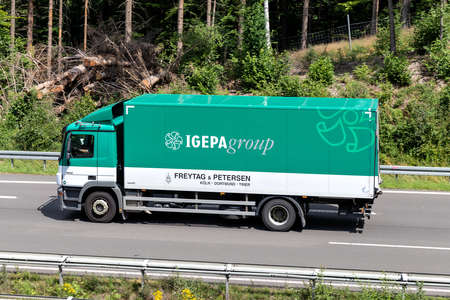 IGEPAgroup Mercedes-Benz Atego truck on motorway. Archivio Fotografico - 156764527