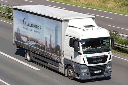 Aluprof MAN TGX truck on motorway.