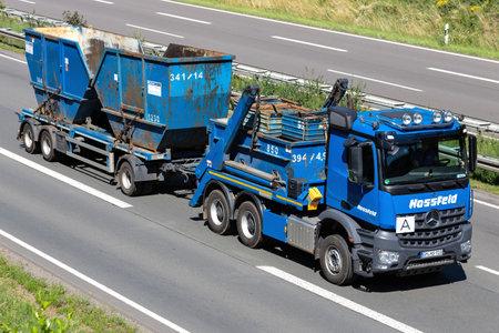 Hossfeld Mercedes-Benz Arocs truck on motorway. Archivio Fotografico - 156764540