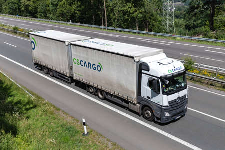 C.S.CARGO Mercedes-Benz Actros combination truck on motorway. Archivio Fotografico - 156764562