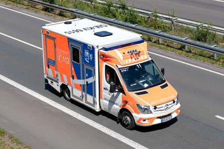 Mercedes-Benz Sprinter ambulance of the German Oberberg distict on motorway.
