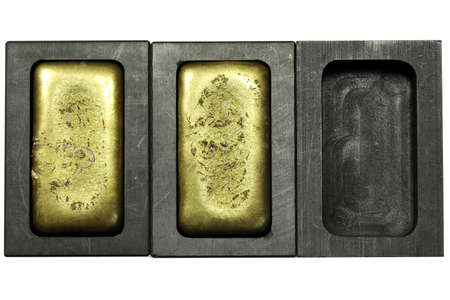 graphite molds with gold bars isolated on white background Archivio Fotografico - 157214951