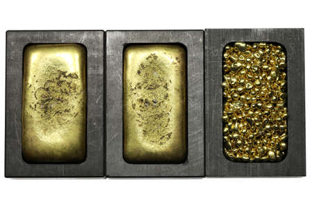 graphite molds with gold bars and granules isolated on white background