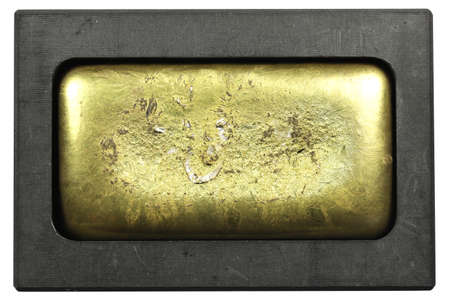 gold bar in graphite mold isolated on white background Stok Fotoğraf