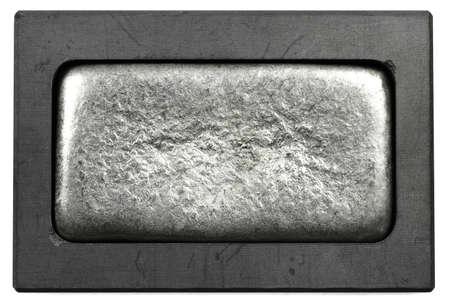 metal bar in graphite mold isolated on white background Archivio Fotografico