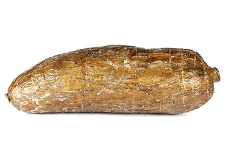 cassava tuber isolated on white background