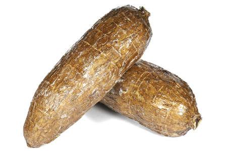 cassava tubers isolated on white background