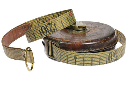 vintage tape measure isolated on white background