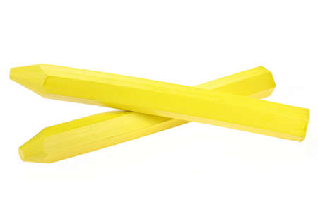 yellow marking crayon isolated on white background