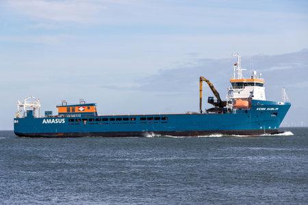 general cargo vessel EEMS DUBLIN on the river Elbe