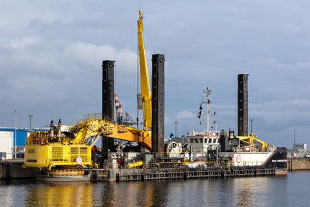 Jan De Nul backhoe dredger GIAN LORENZO BERNINI in the port of Cuxhaven, Germany