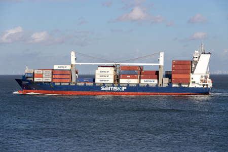 container ship HELGAFELL on the river Elbe