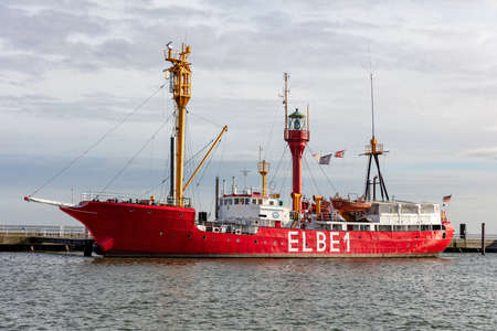 Former ELBE 1 lightship Burgermeister O'Swald in Cuxhaven. This is the last, largest and most famous manned German lightvessel positioned in the Elbe estuary.