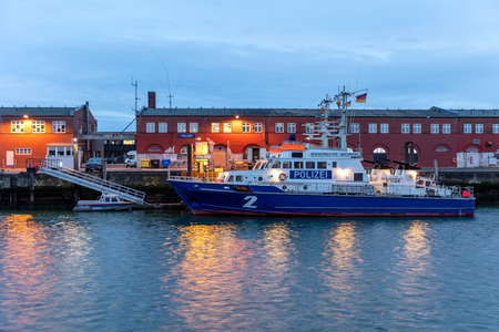 Hamburg police coast patrol boats in the port of Cuxhaven at nightfall
