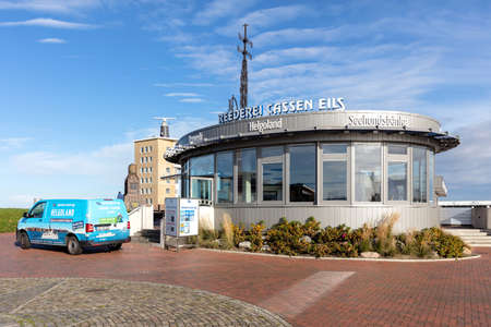 Cassen Eils pavillon in Cuxhaven, Germany. Cassen Eils is the oldest shipping company offering transportation to Heligoland. Editoriali