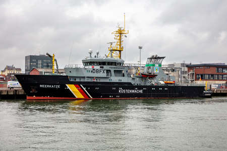 German fishery protection vessel MEERKATZE in the port of Cuxhaven, Germany