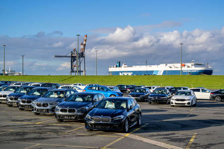 new BMW cars for export at seaport terminal in Cuxhaven, Germany Editoriali