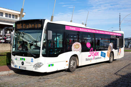 KVG Mercedes-Benz Citaro bus at holding point 'Alte Liebe' in Cuxhaven, Germany. KVG is one of the largest bus companies in Lower Saxony.