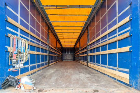 cargo area of a curtain side semitrailer