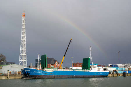 general cargo vessel HELGOLAND in the port of Cuxhaven, Germany