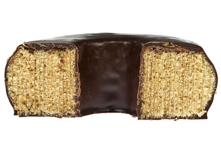 chocolate coated German Baumkuchen isolated on white background Archivio Fotografico
