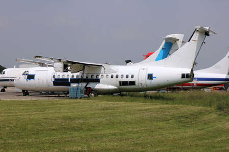 short-haul regional airliner at maintenance service