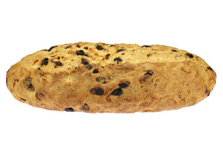 freshly baked traditional Saxon Christmas Stollen still without powdered sugar finish isolated on white background