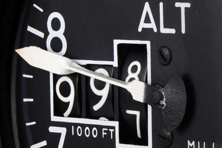 close up of analogue aviation altimeter