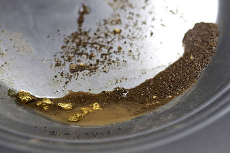 gold nuggets in a metal gold pan
