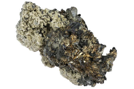 acanthite and silver wires from Shanxi, China isolated on white background