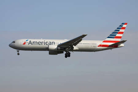 American Airlines Boeing 767-300 with registration N368AA on final for runway 25L of Frankfurt Airport.