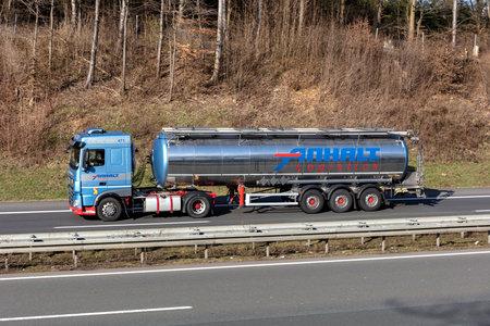 Anhalt Logistics DAF XF truck with tank trailer on motorway.