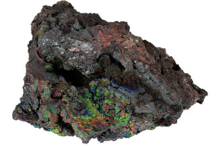 iridescent goethite from Tharsis, Spain isolated on white background